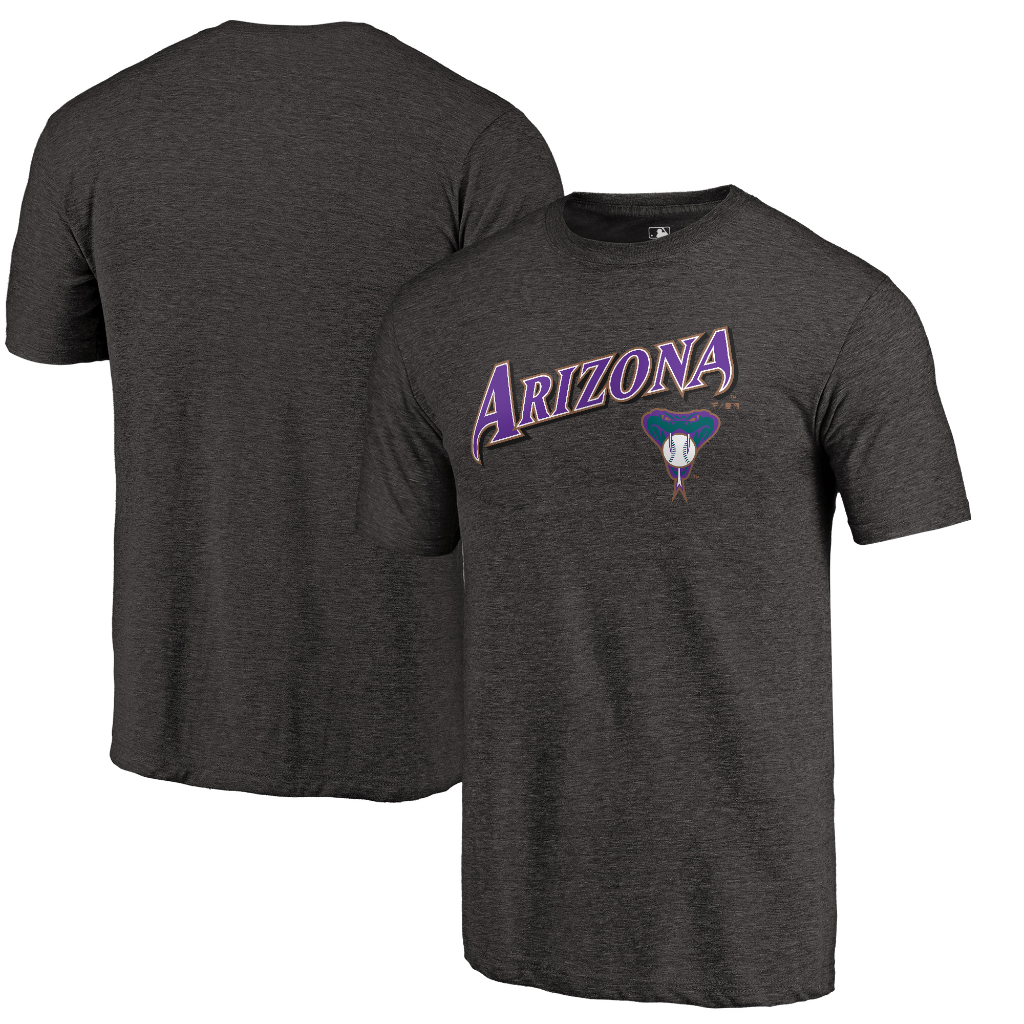 Arizona Diamondbacks Fanatics Branded Vintage Cooperstown Collection Wahconah Tri-Blend T-Shirt - Heathered Black