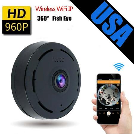 Home Panoramic Wifi IP Camera APP Fisheye Wifi IP Camera Full 360 Degree  Clear Vision 960P 1 3 Megapixel with Remote Viewing(Black) - Walmart com