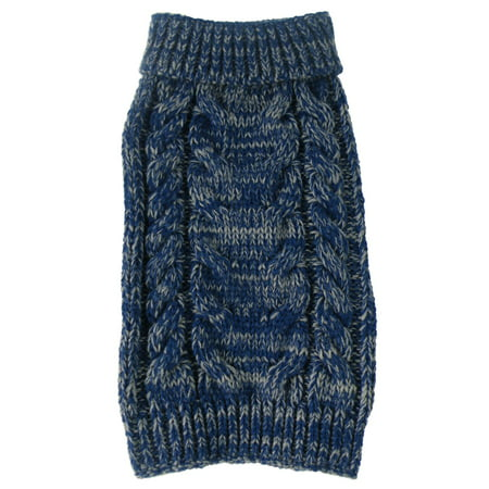 Classic True Blue Heavy Cable Knitted Ribbed Fashion Dog Sweater Cable Knit Ribbed Sweater