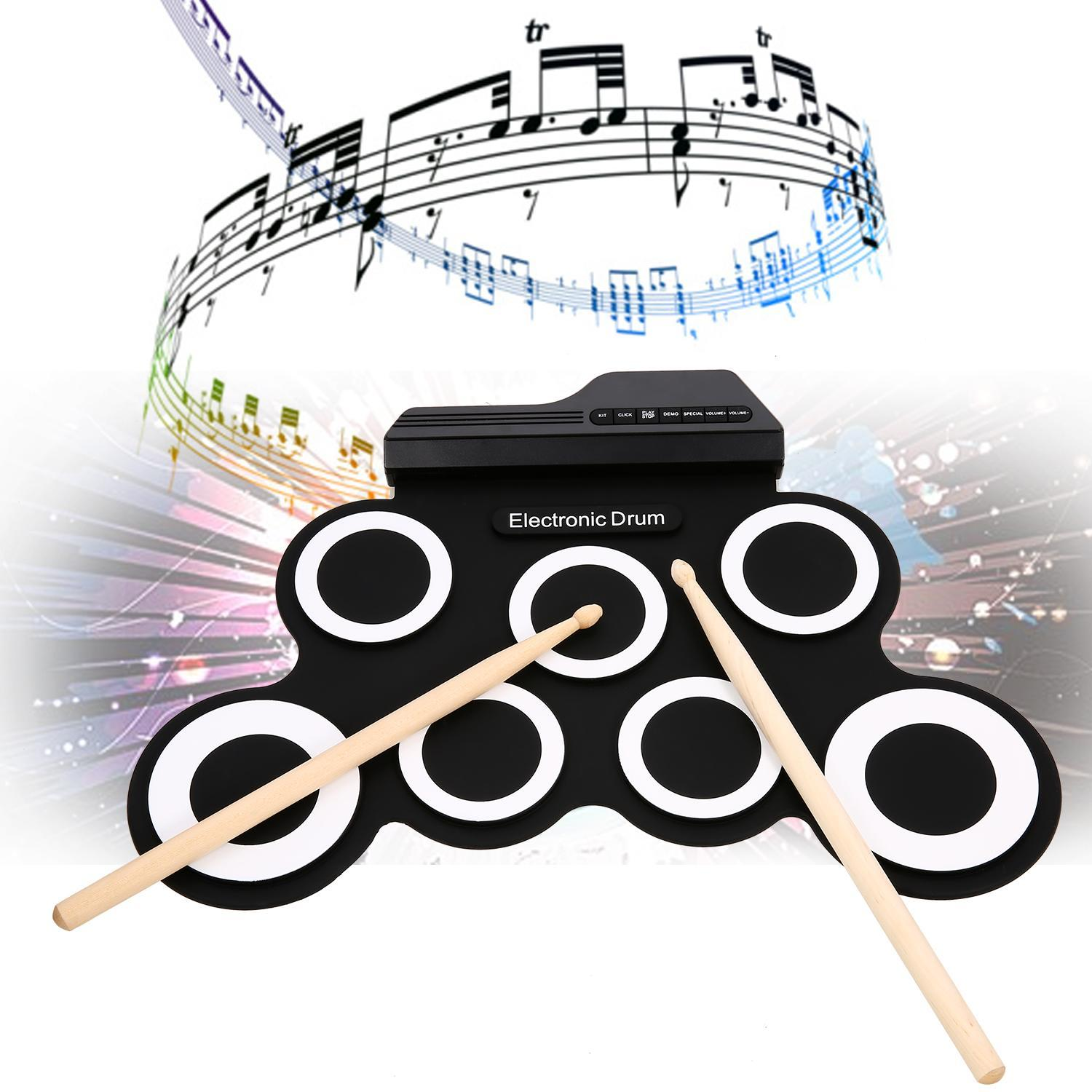 9 Pad Electronic Roll Up Drum Kit, USB MIDI With Built-in Speakers, Foot Pedals, Drum... by
