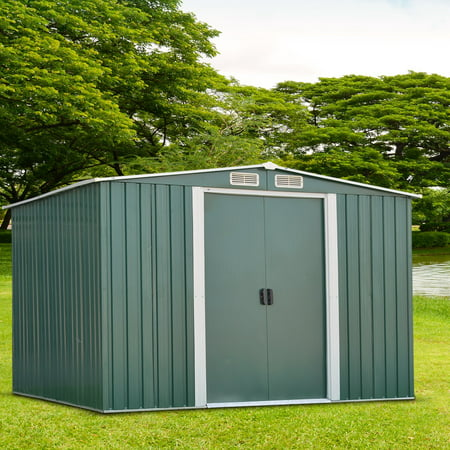 Ainfox 8' x 10' Steel Storage Shed, Utility for Outdoor Garden Backyard Lawn Warm (Metal Sled)
