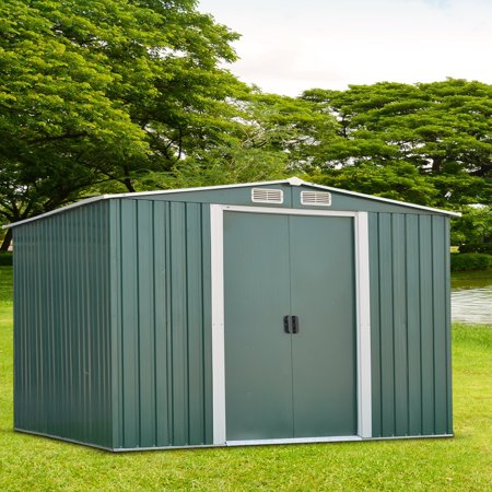 Ainfox 8' x 10' Steel Storage Shed, Utility for Outdoor Garden Backyard Lawn Warm