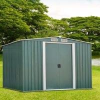 Ainfox 8' x 10' Steel Storage Shed, Utility for Outdoor Garden Backyard Lawn Warm (Green)