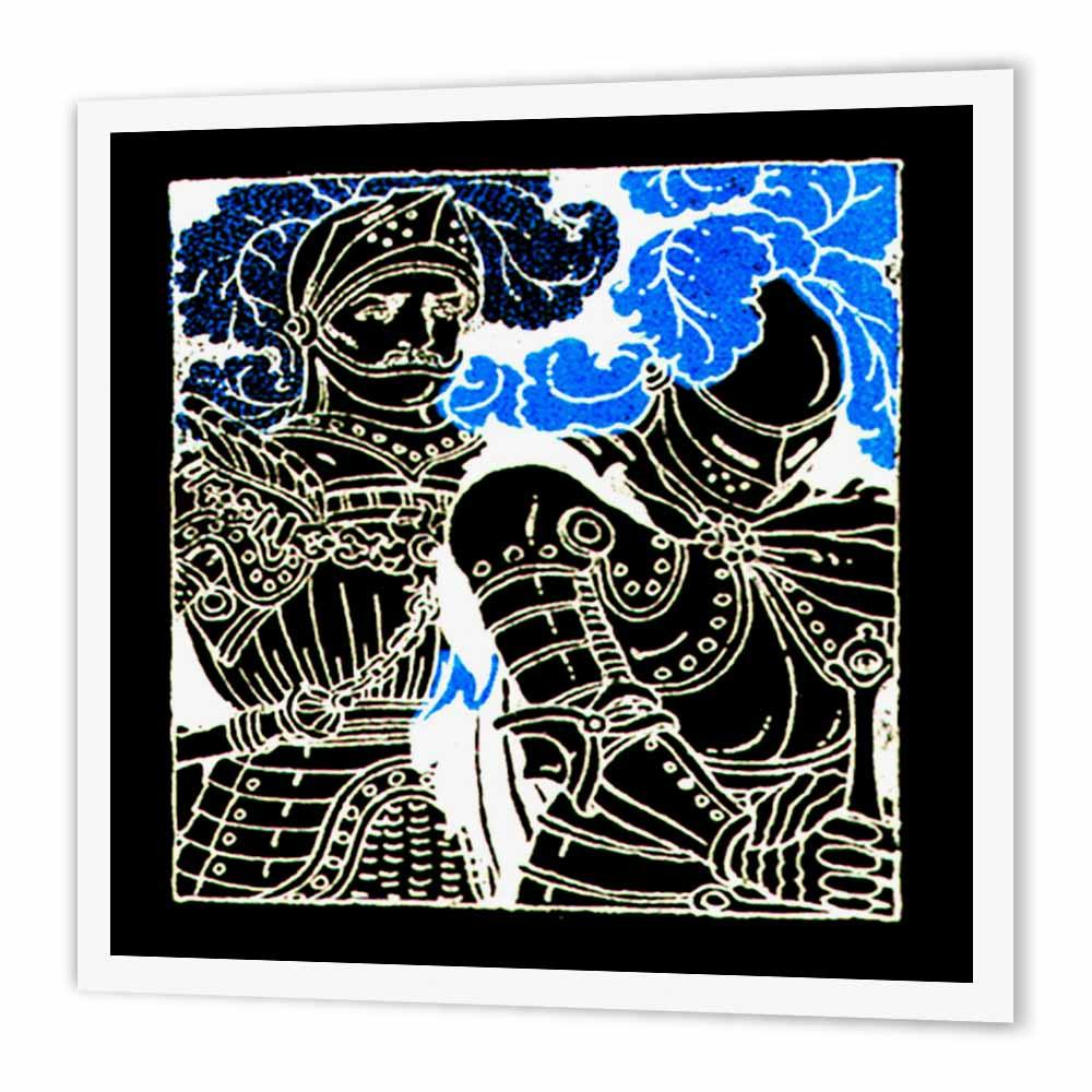 3dRose 2 Black Medieval Knights, Iron On Heat Transfer, 8 by 8-inch, For White Material