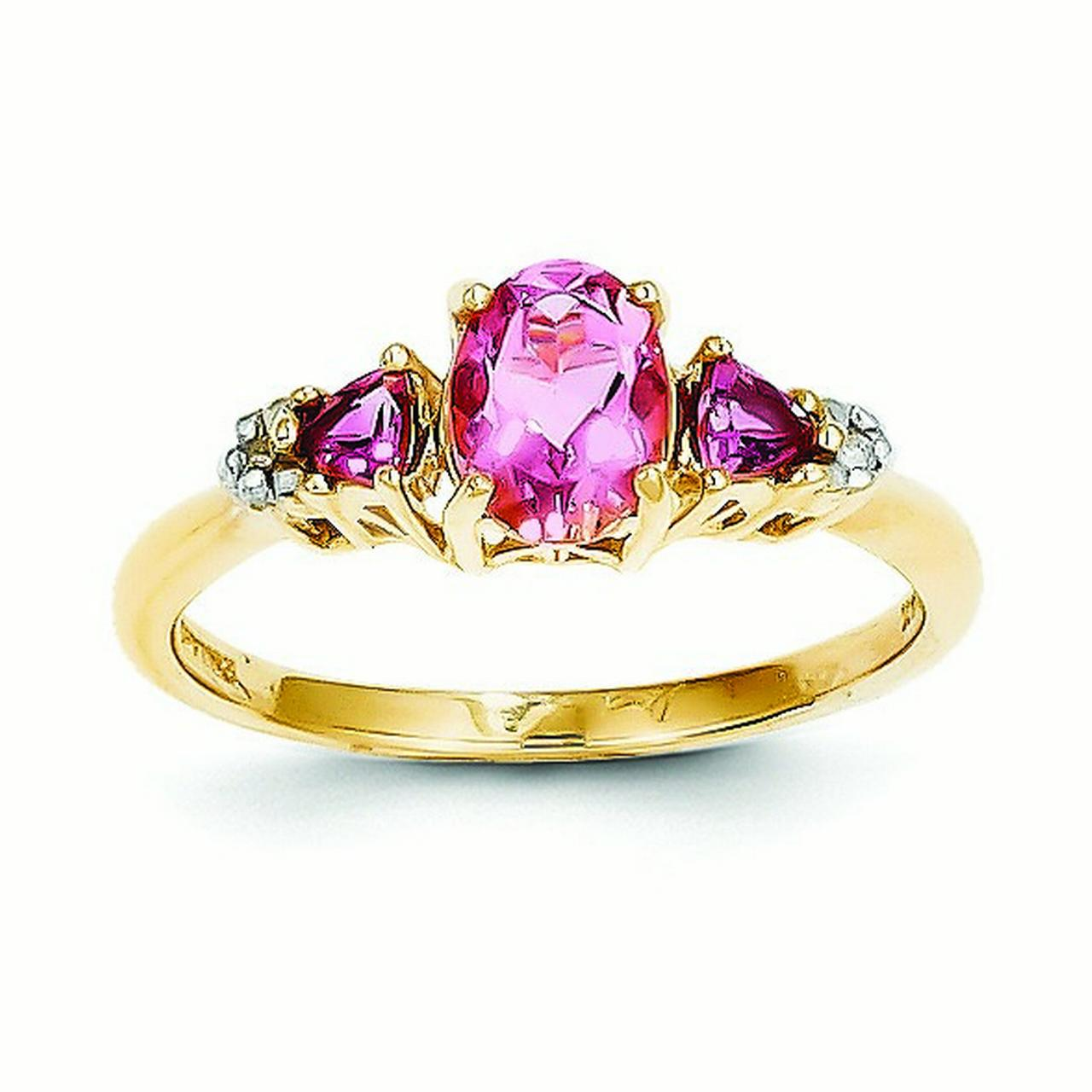 14k Yellow Gold Polished Open back Pink Tourmaline and Diamond Ring .02 dwt by Jewelryweb