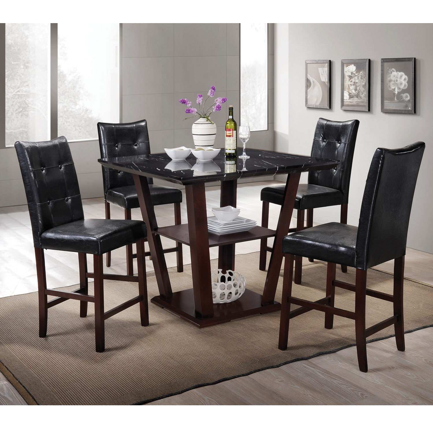 Home Source Lower Storage Faux Marble Square Dining Set
