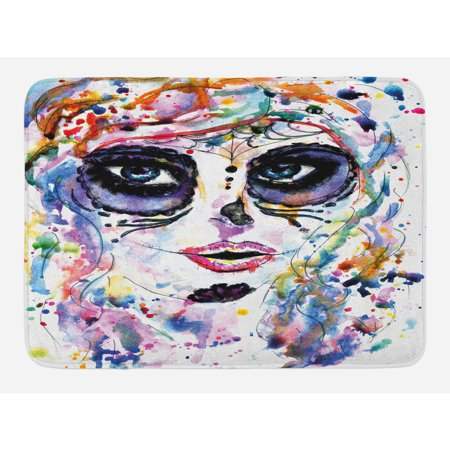 Sugar Skull Bath Mat, Halloween Girl with Sugar Skull Makeup Watercolor Painting Style Creepy Look, Non-Slip Plush Mat Bathroom Kitchen Laundry Room Decor, 29.5 X 17.5 Inches, Multicolor, Ambesonne