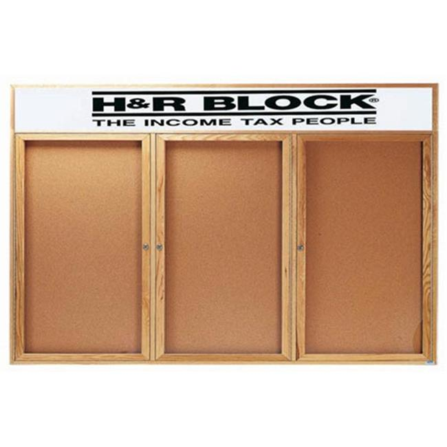 Aarco Products OBC3672-3RH Enclosed Bulletin Board with Header - Oak