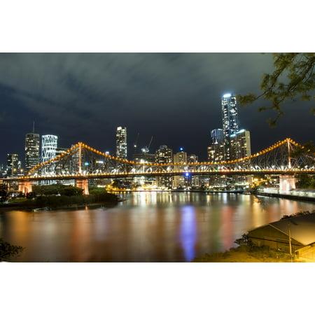 Canvas Print Night Lights Brisbane Urban Story Bridge River Stretched Canvas 10 x 14