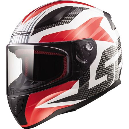 LS2 Helmets Rapid Grid Graphic Full Face Motorcycle Helmet (White/Red