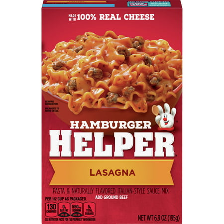 Betty Crocker Hamburger Helper, Lasagna Hamburger Helper, 6.9 Oz Box America's favorite Hamburger Helper is made with 100% REAL cheese and Italian-style herbs for the classic taste you love most. Our products are made with NO artificial flavors or colors from artificial sources. Add some zip and zest. Stir in red pepper flakes and diced tomatoes before simmering. Just before serving, sprinkle with shredded parmesan cheese.
