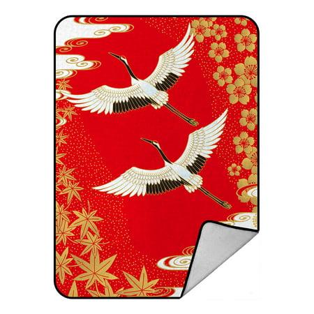 YKCG Japanese Cherry Blossom White Cranes Gold Maple Leaves Blanket Crystal Velvet Front and Lambswool Sherpa Fleece Back Throw Blanket -