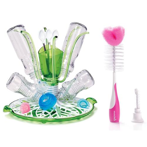 Munchkin Sprout Drying Rack with Bottle and Nipple Brush