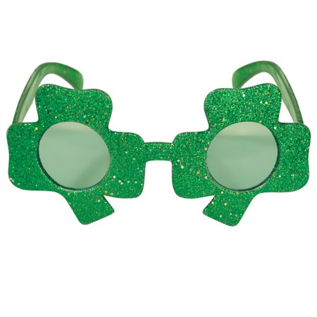Glitter Shamrocks (Glittered Shamrock Fanci-Frames St Patrick's Day Party Wear Glasses,)