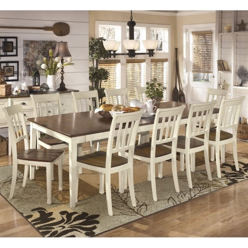 Merveilleux Ashley Whitesburg 11 Piece Extendable Dining Set In Brown And White