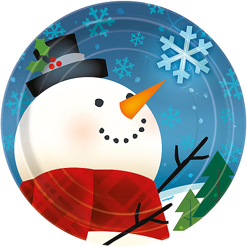 "7"" Joyful Snowman Holiday Dessert Plates, 8-Count"