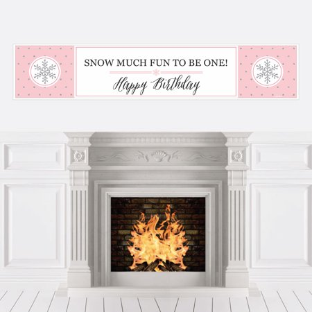Pink ONEderland - Holiday Snowflake Winter Wonderland Birthday Party Decorations Party Banner](Winter Wonderland Decorations)