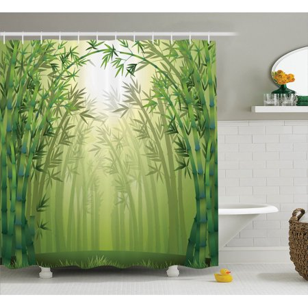 Rainshower Set (Bamboo Decor Shower Curtain Set, Illustration Of Bamboo Trees In Rain Forest Far Eastern Wildlife Tropical Nature Style Decor, Bathroom Accessories, 69W X 70L Inches, By Ambesonne)