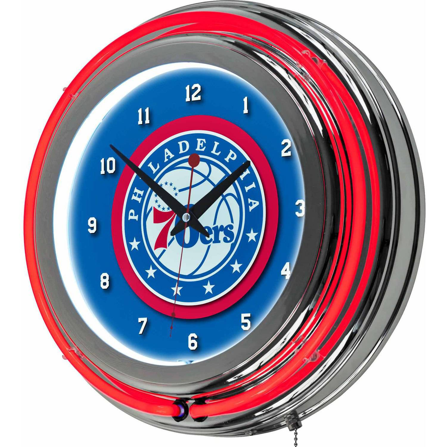 "Philadelphia 76ers NBA 14"" Neon Wall Clock"