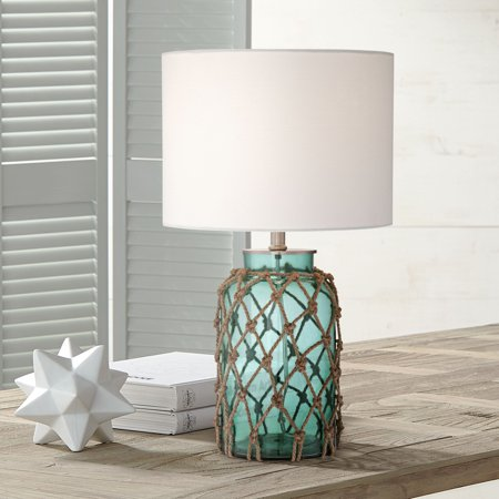 360 Lighting Nautical Accent Table Lamp Coastal Blue Green Glass Rope Net Off White Drum Shade for Living Room Family Bedroom