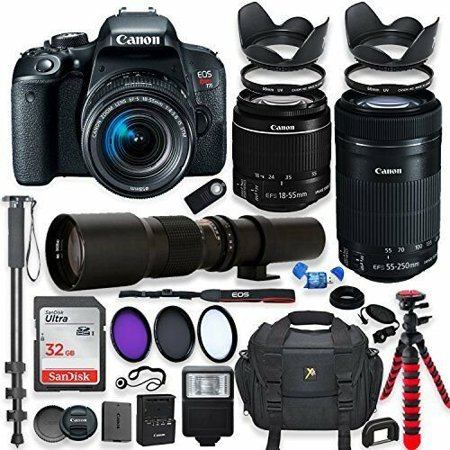 Canon EOS Rebel T7i DSLR Camera with 18-55mm STM Lens Bundle + 32 GB SD Card