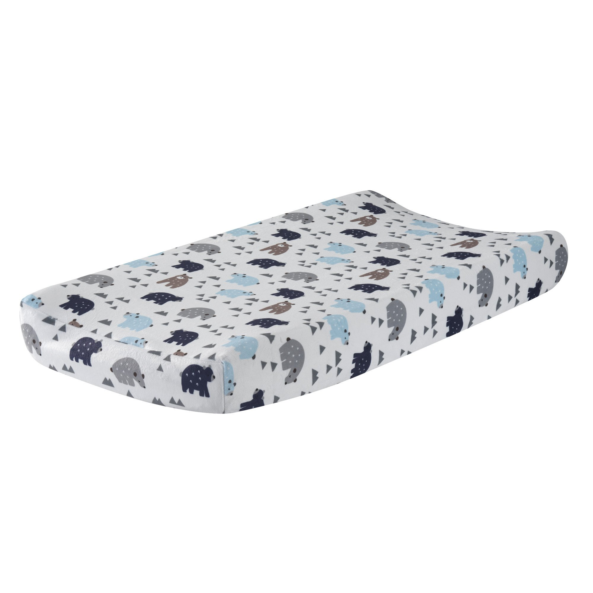 Lambs & Ivy Signature Montana Blue Gray Brown Bear Changing Pad Cover by Lambs %26 Ivy