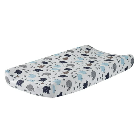 Green Changing Pad Cover - Lambs & Ivy Signature Montana Blue/Gray/Brown Bear Changing Pad Cover