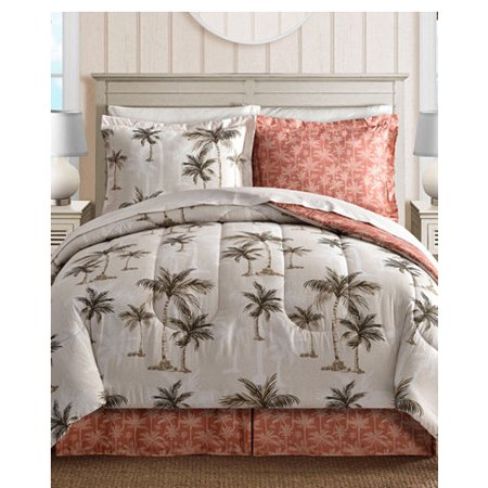 Island King Comforter (Coral, Tropical Palm Tree, Hawaiian Beach, Reversible California Cal King Comforter Set (8 Piece Bed In)