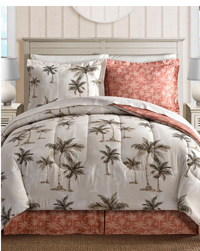 Coral, Tropical Palm Tree, Hawaiian Beach, Reversible California Cal King  Comforter Set (