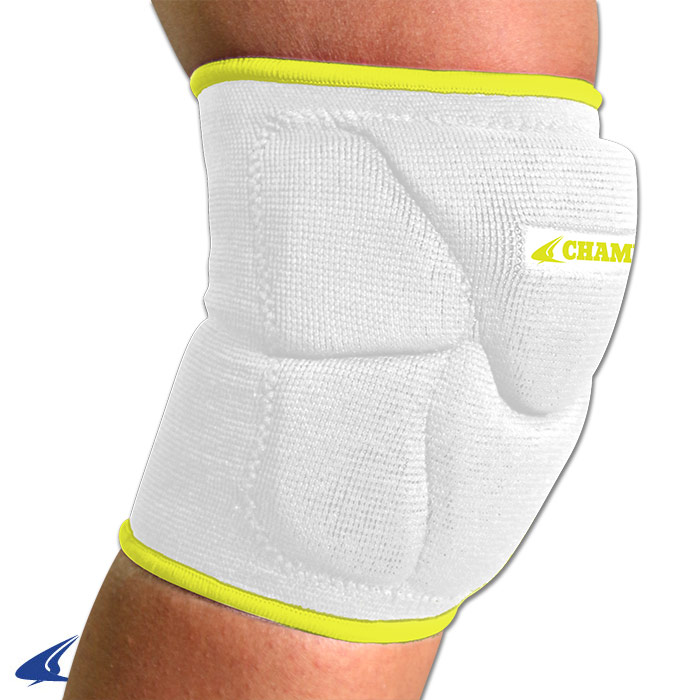 CHAMPRO Pro-Plus Low Profile Volleyball Knee Pad Large White/Yellow