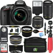 Nikon D5300 24.2 MP DSLR Camera + AF-P DX 18-55mm 70-300mm NIKKOR Zoom Lens Kit + 16GB Memory Bundle + Deco Gear Photo Bag Wide Angle Lens 2x Telephoto Lens Flash Remote Tripod Filters