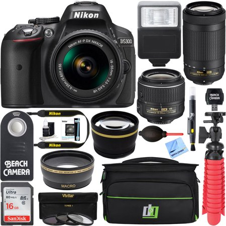 Nikon D5300 24.2 MP DSLR Camera + AF-P DX 18-55mm & 70-300mm NIKKOR Zoom Lens Kit + 16GB Memory Bundle + Photo Bag + Wide Angle Lens + 2x Telephoto Lens + Flash + Remote +Tripod+Filters (Best Nikon Dx Camera)
