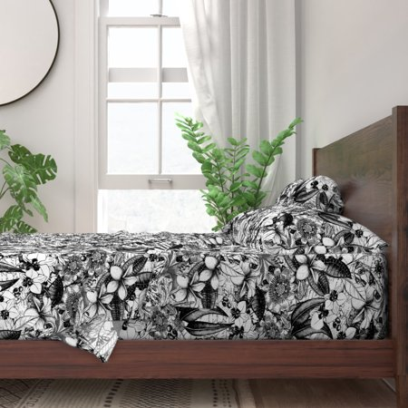 Shabby Chic Black And White Vintage 100% Cotton Sateen Sheet Set by