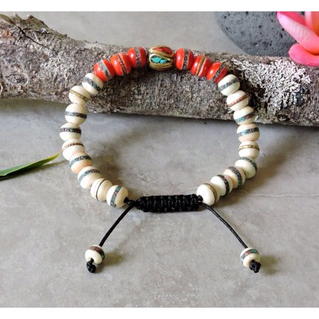 Tibetan Embedded Yak Bone Medicine Healing Wrist Mala for Meditation - (Best Cord For Mala Beads)