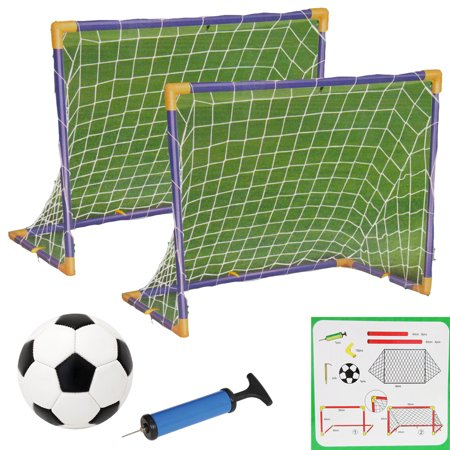 Soccer Ball Net - Soccer Hockey Goals w/ Nets Stakes Ball Pump Set Twin Goal Training Sports 32PCS