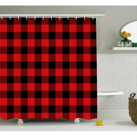 Plaid Shower Curtain Lumberjack Fashion Buffalo Style Checks Pattern Retro With Grid Composition Fabric Bathroom Set Hooks Scarlet Black