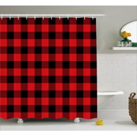 Product Image Plaid Shower Curtain Lumberjack Fashion Buffalo Style Checks Pattern Retro With Grid Composition