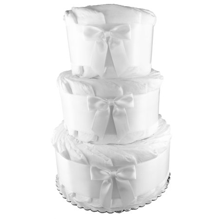 Do it Yourself 3-Tier Diaper Cake - 62 Diapers - Baby Shower Centerpiece - Undecorated - White