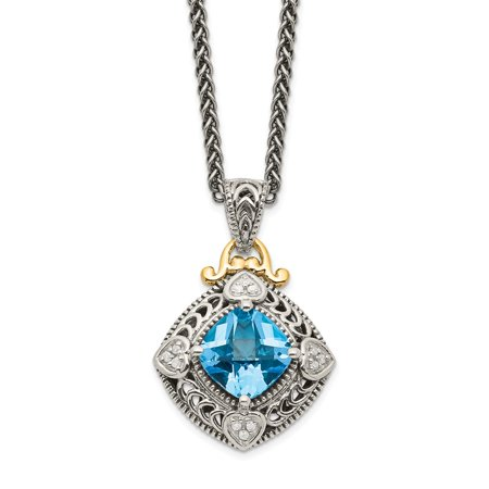 Roy Rose Jewelry Shey Couture Collection Sterling Silver with 14K Yellow Gold Diamond & Blue Topaz Necklace 18
