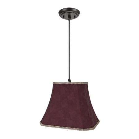 Aspen Creative 74121-11 One-Light Hanging Pendant Ceiling Light with Transitional Cut Corner Bell Fabric Lamp Shade, Red, 14