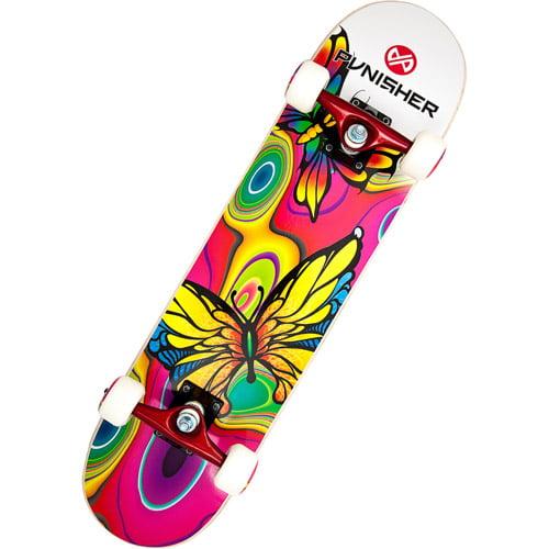 """Punisher Skateboards 31"""" ABEC-3 Complete Skateboard, Butterfly Jive"""