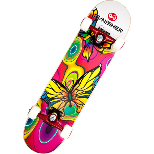 "Punisher Skateboards 31"" ABEC-3 Complete Skateboard, Butterfly Jive"