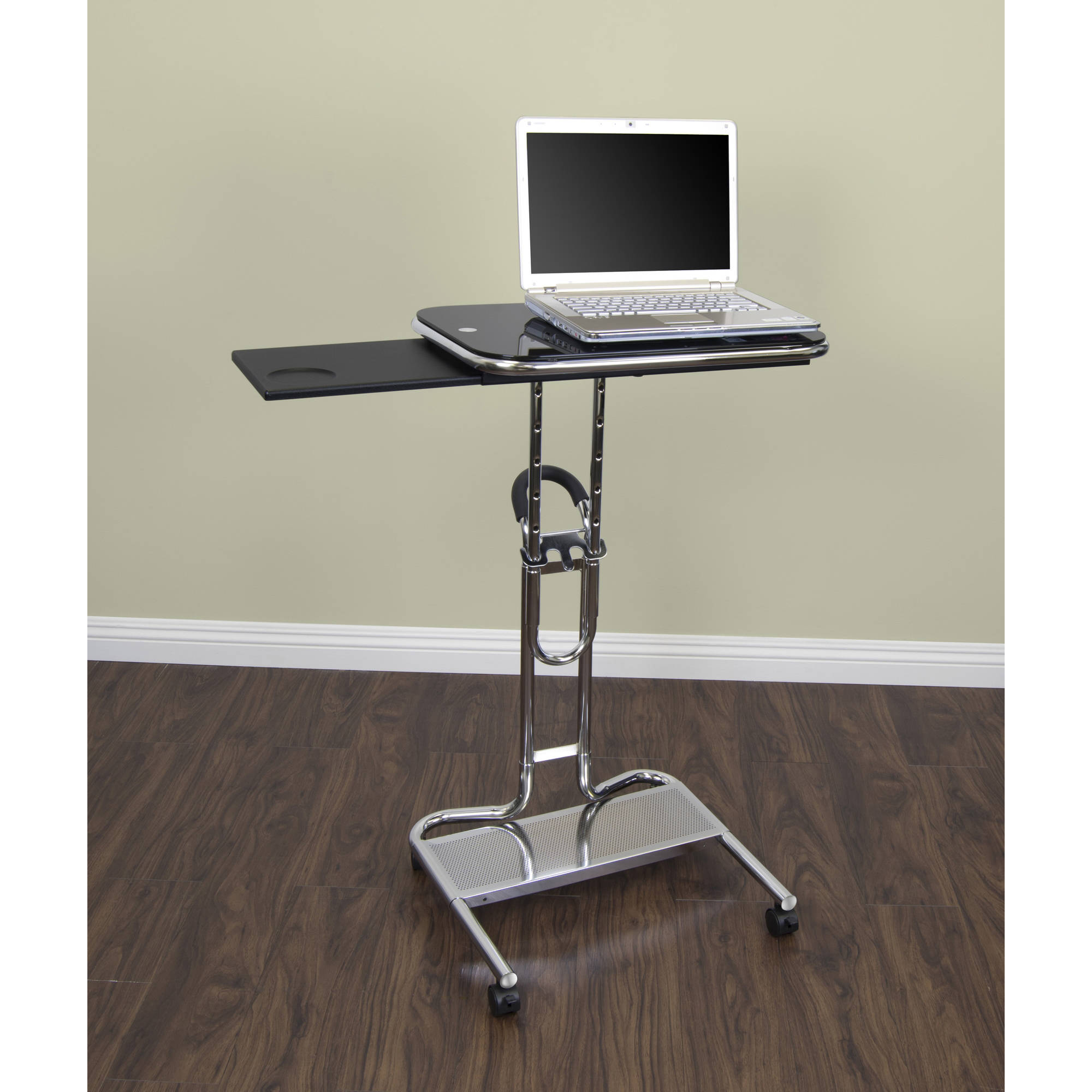 Calico Designs Laptop Cart with Tray in Chrome with Black Glass
