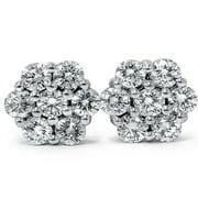 1ct Pave Fire Diamond Studs 14K White Gold