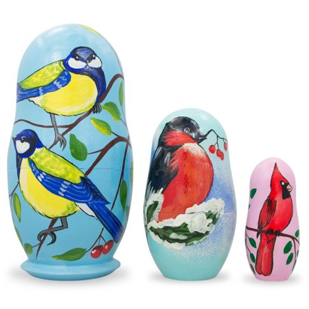 Set of 3 Birds- Cardinal and Finches Wooden Nesting Dolls 4.25 Inches