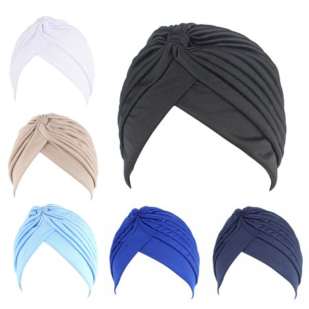 6PCS Turban Hat, Aniwon Solid Color Twisted Pleated Stretchable Chemo Head Cover Headwear Handband Beanie Arabic Head Scarf Bandana Muslim Hijab for (Best Beanie For Small Head)