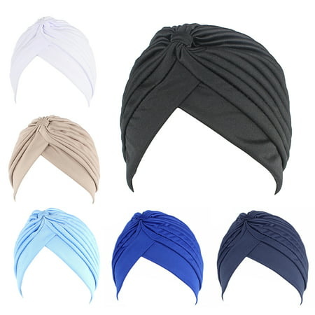 6PCS Turban Hat, Aniwon Solid Color Twisted Pleated Stretchable Chemo Head Cover Headwear Handband Beanie Arabic Head Scarf Bandana Muslim Hijab for -