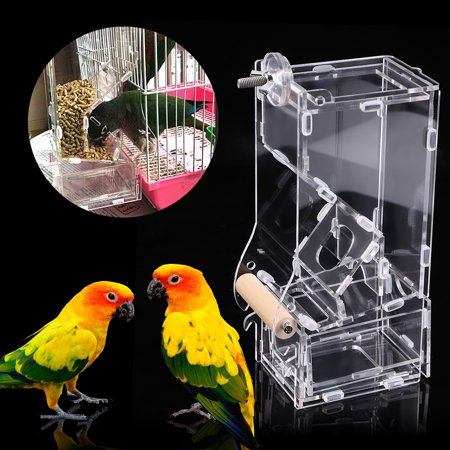 - 1Pc New Fashionable Acrylic Pet Birds Seeds Food Feeder Cage Toy Transparent                   , Seed Food Feeder, Bird Cage Feeder