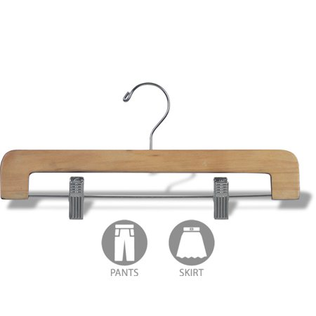 Deluxe Wooden Bottom Hanger With Adjustable Clips Natural Finish With Chrome Hardware Box Of 25 By International Hanger