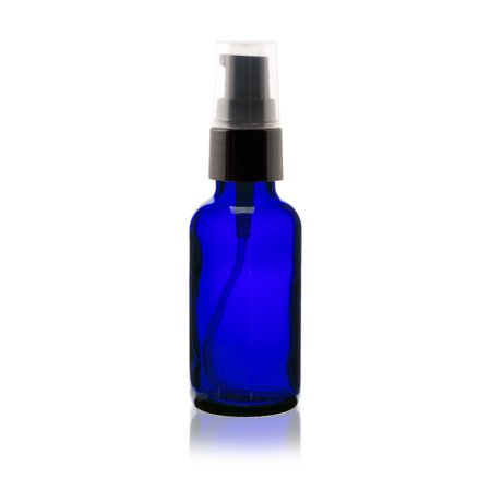 2 oz Cobalt Blue Boston Round Glass Bottle - w/ Treatment Pump - pack of 12 Cobalt Blue Glass Pump